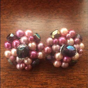Vintage Japan Clip Beaded Earrings